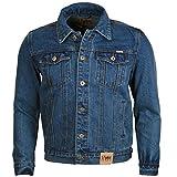 Duke Rockford Herren Große King Größe L Jeans Trucker Jacke Klassische Western Stil Mantel Top - Steingewaschen Blau, XXXL