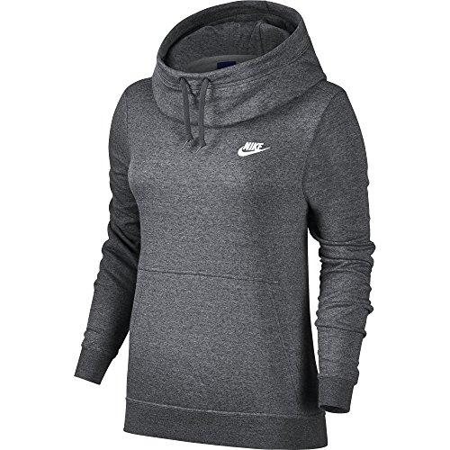 Nike Damen Sportswear Funnel Fleece Langarm Oberteil mit Kapuze, Charcoal Heather/Charcoal Heather/White, S (Fleece-pullover Charcoal)
