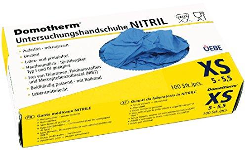 Domotherm Nitril Untersuchungshandschuhe XS (Größe 5 - 5,5), 100 Stück Hygiene Handschuhe (Kinder-gummi-handschuhe)