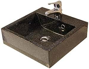 Vasque carrée 40 cm en résine noir granité LANTON