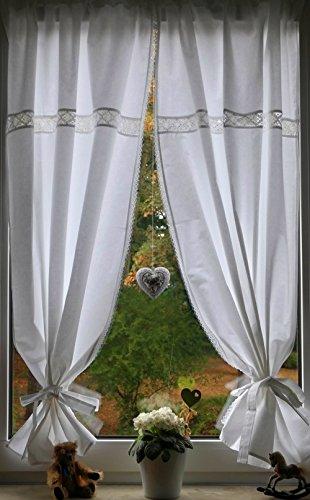 Leinenshop24 Landhaus Gardinen Set Weiß/Spitze 2 St + 2 Bindebänder 140x85cm/Gesamt 170cm breit 100{20222cb7b65d7ad07e7e8576ddf0930245fca3e7a4b61e2b1e39690c89c2cbfc} Baumwolle Tina
