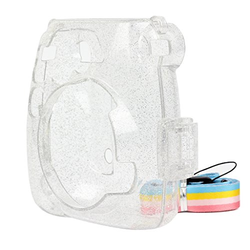 Prettyia Instant Camera Mini 8 Rhinestone Crystal PVC Case Bag with Colorful Shoulder Strap for Fujifilm Instax Mini 8/ Mini 8+/ Mini 9 Instant Film Camera