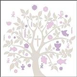 40x Ambiente Servietten Symbol Baum Mauve Pink Kommunion Konfirmation Taufe Tischdeko 20 Stück 33x33cm