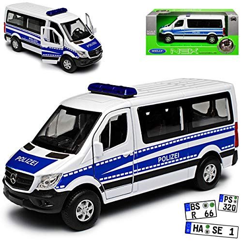 Welly Mercedes-Benz Sprinter W906 Personen Transporter Weiss Blau Polizei Modell 2006 Ab Facelift 2013 ca 1/43 1/36-1/46 Modell Auto Modell Auto