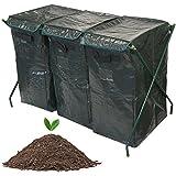 Composteur Jardin 300L Poubelle écologique Bio Compost Terre de stockage de déchets Allocation mensuelle de sac de recyclage de convertisseur