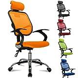 Femor Bandscheiben-Drehstuhl inklusive Armlehnen/Stoffbezu- bis 130KG - Höhenverstellung - Farbwahl Orange/Schwarz/Grün/Blau /Rot (Orange)