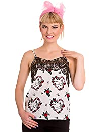 Hell Bunny Love Skeleton Floral Heart dentelle Camisole Strap Top Rockabilly