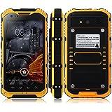 Bestore®- A9+ 4,3 pulgadas IP68 a prueba de agua a prueba de polvo a prueba de choques Smartphone (Android 4.4.2, MTK6582W Quad Core 1,3 GHz, 2GB de RAM 16GB ROM, cámara de 8.0 megapíxeles WCDMA/GSM 3G, NFC OTG) (Amarillo)