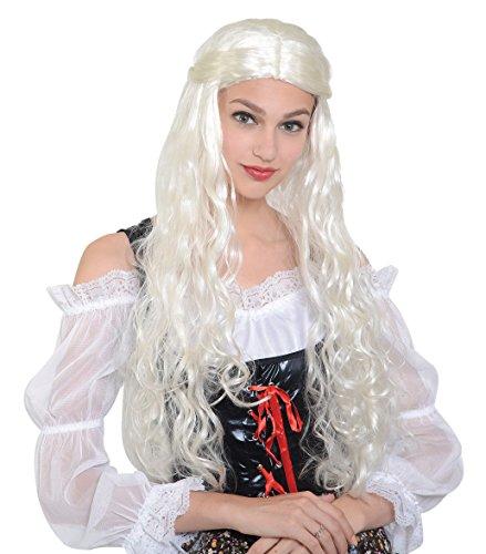 Bristol Novelty BW955 Mittelalterliche Perücke, Blond, Damen, weiß, Einheitsgröße -