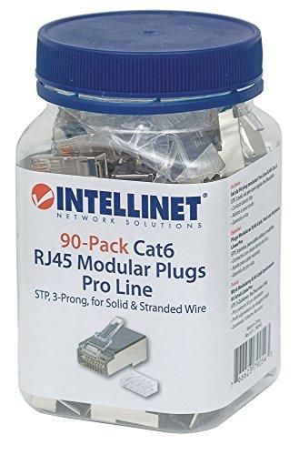 Intellinet 90er-Pack Cat6 RJ45-Modularstecker Pro Line (STP, 3-Punkt-Aderkontaktierung, für Litzen- und Massivdraht, 50 µ vergoldete Kontakte) 790543 grau
