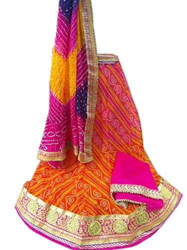 K.K.Sales Georgette Lehenga Choli (Orange & Multi Color Dupatta_Free Size)
