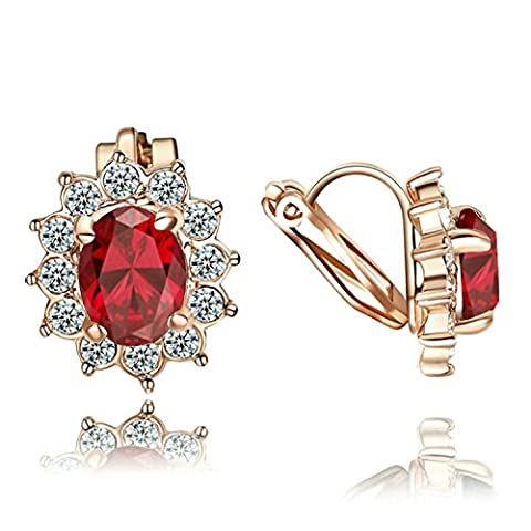 Yoursfs Cherry Red Ruby Earrings for Women,July Birthstone Earrings, Crystal Fashion Jewellery 18ct Rose Gold Plated Dainty Clip-on Earrings Bridal Wedding