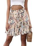 Missy Chilli Damen Kurz Rock Sommer Lässig High Waist Blumen Volant Mini Röcke Skirt
