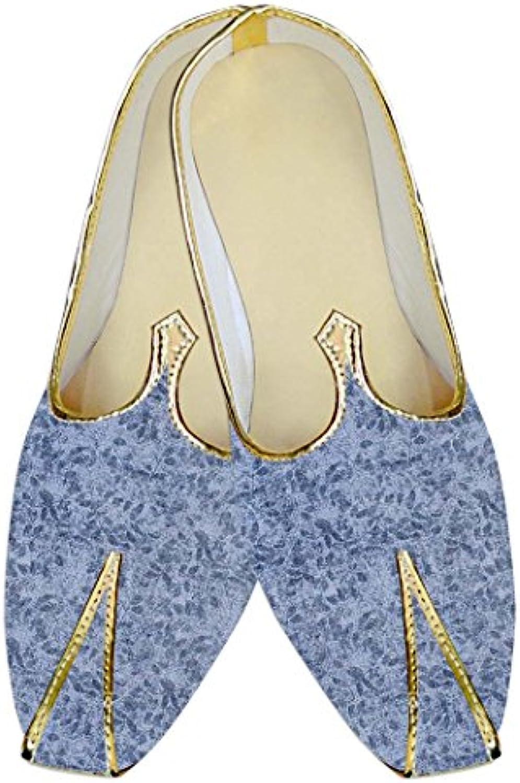 INMONARCH Hombres Boda Zapatos Azul Cielo, Patrón de Hojas MJ016008