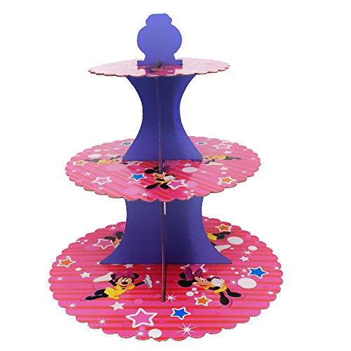 trimmen Shop Minnie Baby Pink Cupcake Ständer 3Etagen rund Tower Karton Made für Kinder Kinder Party Ereignisse zeigen