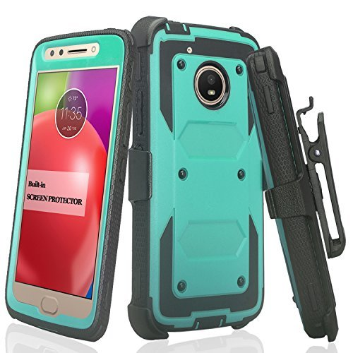 Motorola Moto E4 Fall, Moto E4 Case, Heavy Duty Swivel Holster Gürtelclip, [Built in Displayschutzfolie] Full Body Deckung robusten Schutz für Moto E4 - Schwarz, Blaugrün Heavy-duty Swivel Holster