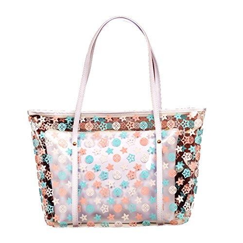 Zicac Einkaufstasche PVC Handtaschen Wasserdicht Schulter Beutel mit Kleinen Kosmetiktasche Weiß