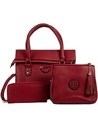 VIOLET Women's Combo Of Handbag, Sling Bag & Wallet (Pink, Pack Of 3, VAR17085)
