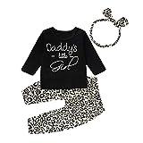 Kleinkind Baby Mädchen Outfits Set 3 Stück Langarm Brief T Shirt Lange Hose Stirnband Baumwolle Kleidung Set für 0-24 Monate (6-12 Monate, Schwarz)