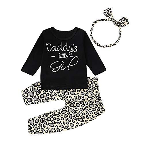 Kleinkind Baby Mädchen Outfits Set 3 Stück Langarm Brief T Shirt Lange Hose Stirnband Baumwolle Kleidung Set für 0-24 Monate (6-12 Monate, Schwarz) Baby-kleidung Outfit