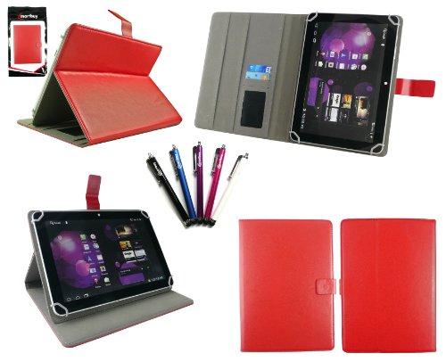 emartbuy Set Von 5 Stylus + Universalbereich Rot Multi Angle Folio Executive-Wallet Case Tashe Hülle-Abdeckung Mit Kartensteckplätze Geeignet Für i.onik Tablet PC TP9.7-1500DC Ultra-9.7-Zoll-Tablet