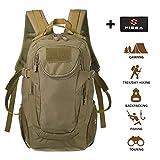 Hisea Taktischer Rucksack Militär Wanderrucksack Molle Daypack für Outdoor Wandern Camping Reisen,25 liters,Braun Farbe