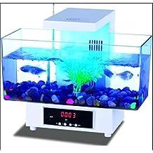 AN-LKYIQI Cuadrada de acrílico transparente Eco escritorio reloj LED táctil luz despertador USB personalizada