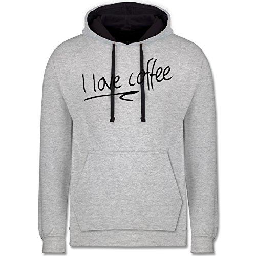 Küche - I Love Coffee - Kontrast Hoodie Grau meliert/Dunkelblau