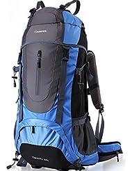 milkee 60L Mochila, mochila de día, wasserresistentes, sistema de estructura externo para acampadas, senderismo, escalada con protector de lluvia, color azul