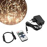 kwmobile LED Draht Lichterkette 10m - Warmweiße Beleuchtung mit Netzteil und Fernbedienung - LED Lichtband Kupferdraht Drahtlichterkette in Kupfer