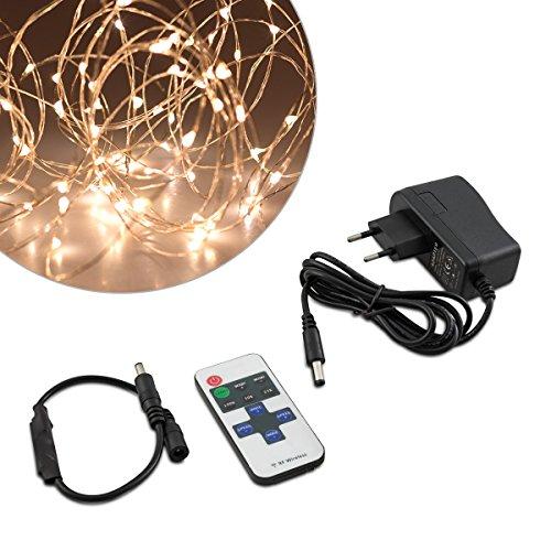 Kwmobile luci led catena luminosa - striscia 10m con telecomando - stringa luce con diversi effetti dimmer illuminazione decorazione interni filo rame