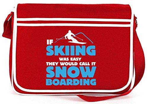 If Skiing Was Easy, Wintersport Snowboard Après Ski Retro Messenger Bag Kuriertasche Umhängetasche Rot