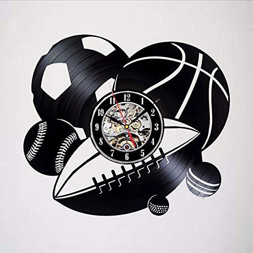 Ysain Juego De Bolas Con Disco De Vinilo Y Un Reloj De Pared para Los Fanáticos Del Deporte: UNA Decoración Emocionante En Las Habitaciones (Relojes De Juegos)
