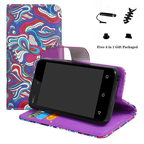 LFDZ Wiko Sunny 2 Hülle, [Standfunktion] [Kartenfächern] PU-Leder Schutzhülle Brieftasche Handyhülle für Wiko Sunny 2 Smartphone (mit 4in1 Geschenk Verpackt),Mushroom Fantasy