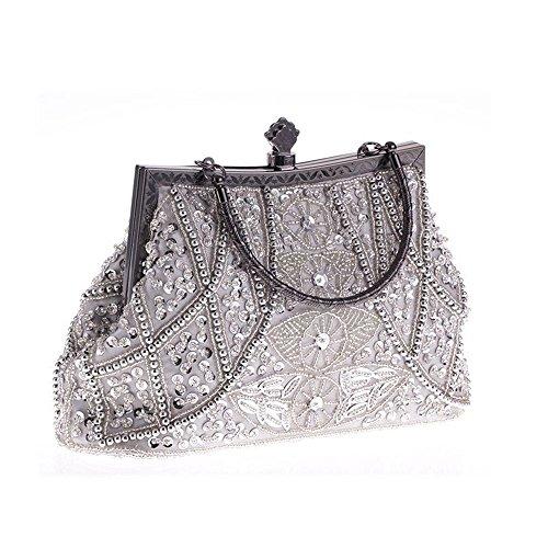 Damen Clutches Abendtaschen Handmade Kupplung Umhängetasche mit Langer Kette #2