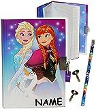 Unbekannt Disney die Eiskönigin - Frozen  - Tagebuch mit Schloss - incl. Name - Notizbuch liniert Hardcover - für Geheimnisse Reisetagebuch Buch + Stift - gebunden /..