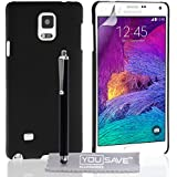 Yousave Accessories Coque Samsung Galaxy Note 4 Etui Noir Dur Hybride Housse Avec Stylet