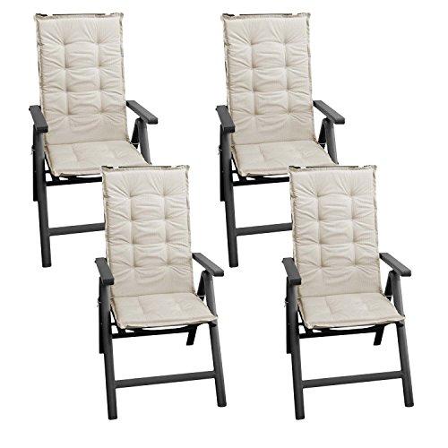 4 Stück Sitzkissen Auflage für Gartenstühle Stuhlauflage Sitzpolster Polsterauflage Gartenstuhlauflage Sitzauflage Sitzpolsterauflage Sitzkissenpolster für Hochlehner 112x45cm - 4cm dick / beige