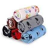 Rionn™ 80 x 120 cm schwarz Haustierdecke für Hund/Katze Pfotenabdruck-Optik, weich, Schondecke, Winterdecke, Hundedecke Fleece, Katzendecke Tierdecke Liegedecke Pfötchen Matte