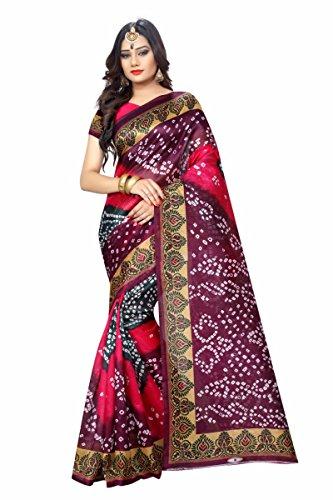 Zypara Women's Cotton Silk Saree (Bandhani_Pinkpurple, Pink, Free Size)