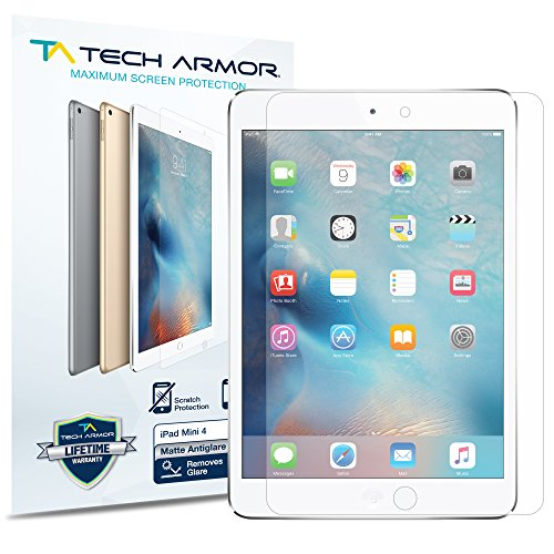 Tech Armor Anti-Glare Film Screen Protector Designed for Apple iPad Mini 5 (2019), iPad Mini 4 [NOT Glass] - Case-Friendly, Full Coverage, Scratch Resistance [2-Pack] Anti Glare Screen