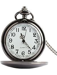 joielavie Vintage reloj de bolsillo árabe numeral cuarzo simple largo collar Mental de concha de suave funda de pulido con cadena relojes regalo para hombres mujeres
