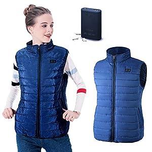 Cheerfulus Elektrische Beheizte Weste, Tägliches Tragen Waschbare USB-Lade Erhitzt Kleidung Winter Warme Weste, Blau