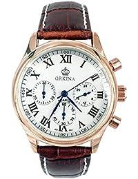 Ciudad de oro rosa color carcasa blanco cronógrafo dial de cuero marrón banda reloj de pulsera de moda
