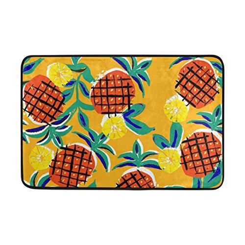 jstel Ananas-Fußmatte waschbar Garten Büro Fußmatte, Küche ESS-Living Badezimmer Pet Eintrag Teppiche mit Rutschfeste Unterseite 59,9x 39,9cm