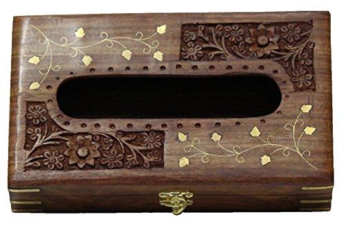 Wooden Tissue Box Napkin Holder Cover With Brass Inlay & Velvet Interior (Gift For Christmas), Wooden Hand Carved & Brass Inlaid Napkin Box Paper Tissue Holder Box Handicraft