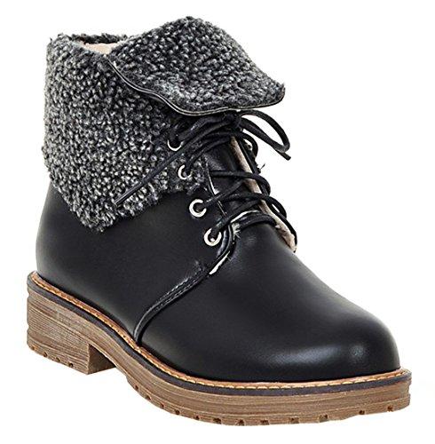 YE Damen Flache Stiefeletten mit Schnürung Warm Gefüttert Blockabsatz 4cm Niedriger Absatz Ankle Boots Schwarz