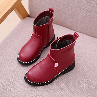 KeKaFu Girls' Shoes Synthetic Winter Fluff Lining Fashion Boots Boots Mid-Calf Boots For Casual Dress Blushing Pink Red Black
