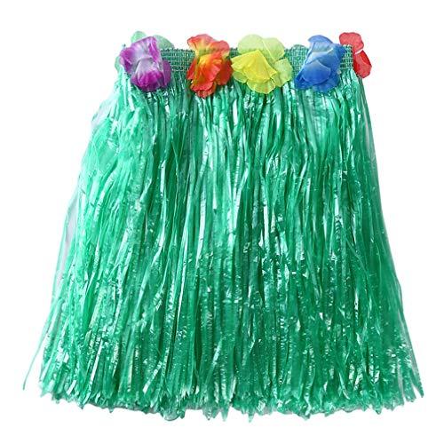 Pinhan Bunter hawaiianischer Hula Grass BH Rock Tropischer Hula Grass Rock Hawaiianisches Kostüm für Sommerparty Beach Dance Kleid, grüner 30cm Rock
