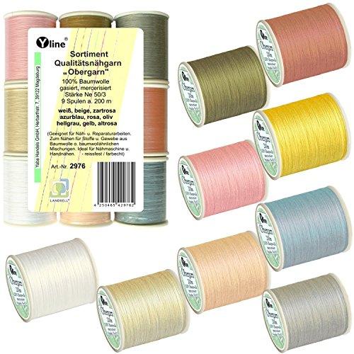 'Surtido. 9Bobinas A. 200m calidad-hilo 'exterior hilo Varios. Colores Pastel, Ne 50/3, 100% algodón para la máquina de coser, 2976